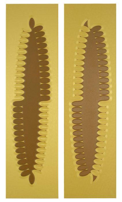 JH 'Familiars - Sidekick' diptych, 2014, oil on linen, 260x140 cm